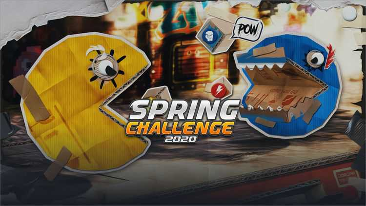 Cover picture for CodinGame Spring Challenge 2020. There is one yellow Pacman and one blue Pacman fighting against each other