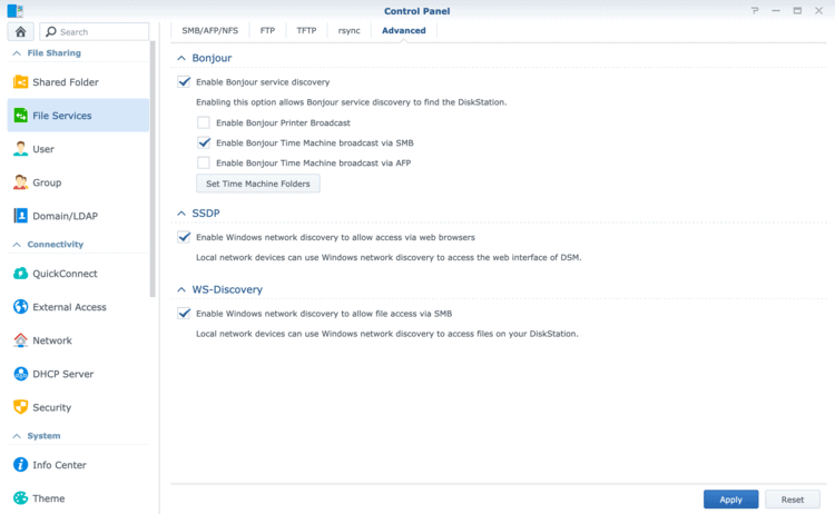 "Screenshot of the ""File Services - Advanced"" setting screen in Synology DSM"