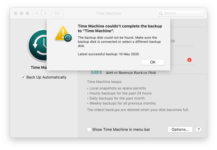 Screenshot of the Time Machine error on macOS